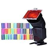 fomito Flash Speedlight Color Gel-Kit Filter 30PS W/gels-band & Reflektor für Canon Nikon Olympus Pentax Yongnuo Neewer Godox Speedlite