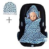 SWADDYL Einschlagdecke Maxi cosi aus Baumwolle Sommer Übergangszeit- Babyschale, Autositz im SET mit Babymütze ÖKO-TEX (Blau)