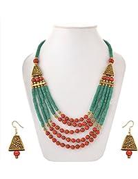 Sitashi Fashion Jewellery Hand Made Rajasthani Beads Office Wear Pendant Necklace Set For Women