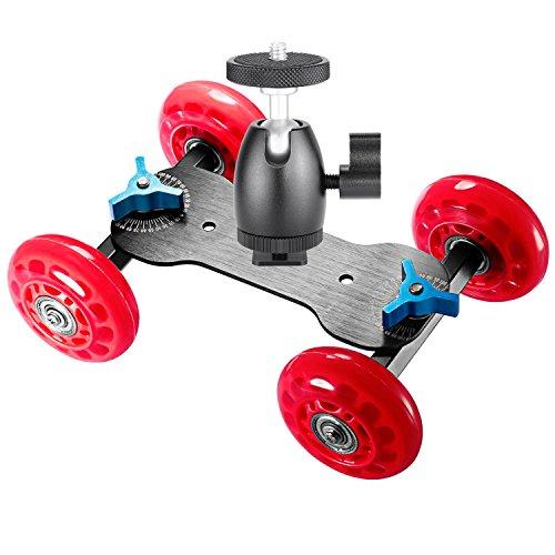 Neewer Tisch Mobile Rollschieber Dolly Auto (rot) und 1/4-Zoll-Schraube Mini-Kugelkopf (schwarz), Skater Video-Schienenstabilisator mit Tragfähigkeit 10 kg/22 Pfund für DSLRs und Video-Camcorder (Adapter Schiebe-platte)