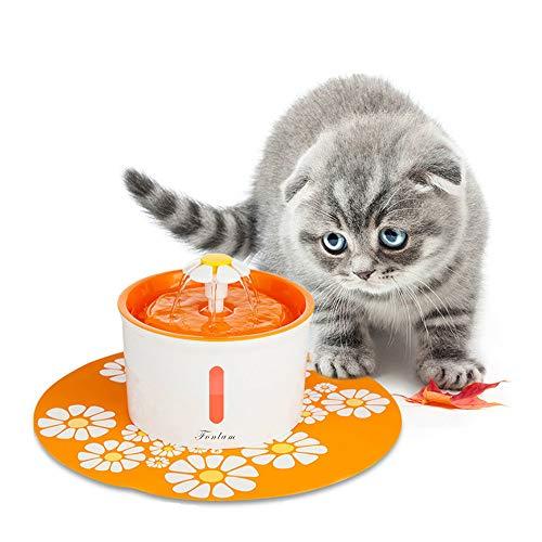 FONLAM Fuente para Gato Perrito Perro Cachorro Bebedero Automático de Silencio con 2 Filtros + Alfombrilla Impermeable Dispensador de Agua Mascota 1,6L Higiénico (Naranja)