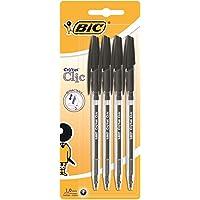 Bic Cristal clic penna a scatto punta media 1 mm confezione 4 penne colore nero