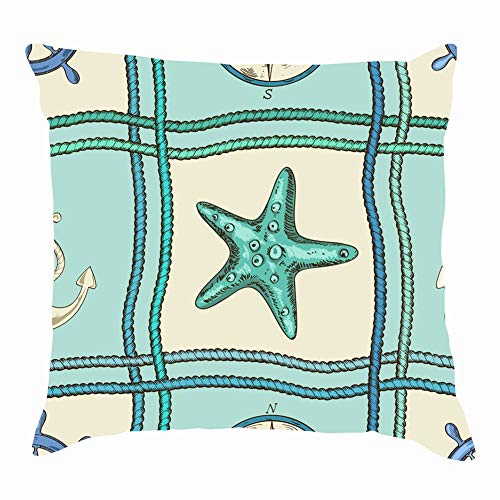 tuyi Nautical Patchwork Ropes Starfish Animals Wildlife fabricThrow Pillow Covers Cotton Linen Cushion Cover Cases Pillowcases Sofa Home Decor 18