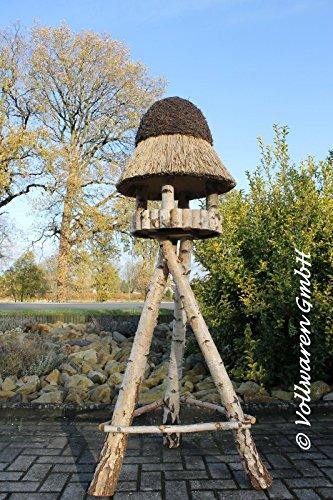 REETDACH VOGELVILLA MASUREN 4 BIRKE 180x57x57 Vogelhaus Futterhaus mit Ständer