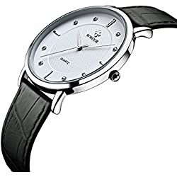 Herren Luxus Marke Ultra Dünn Full echtes Leder Uhr Stecker Wasserdicht Casual Sport Armbanduhr Weiß