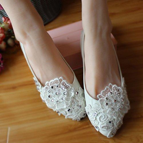 JINGXINSTORE Fatte a mano le donne matrimonio bianco perla di cristallo di pizzo sposa scarpa tacchi alti White