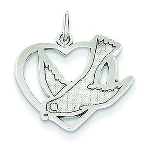 Oro bianco 14 k con ciondolo a forma di uccello, con simbolo della pace, JewelryWeb