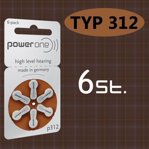 Lot de 6 piles type p powerOne 312 60 piles pour aide auditive: gN resound)