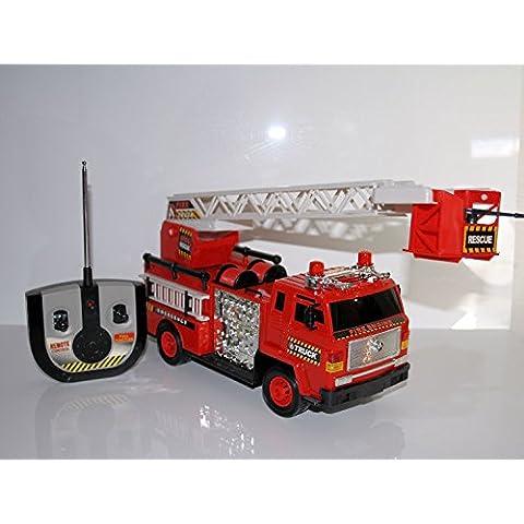 RC Auto dei pompieri Rescue Fire Truck con inserto vera luce e sirena–Scala di estraibile