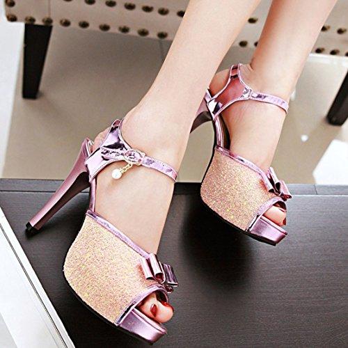 AIYOUMEI Damen Glitzer Peep Toe Knöchelriemchen Sandalen mit Schleife Stiletto High Heels Sommer Süß Schuhe Rosa