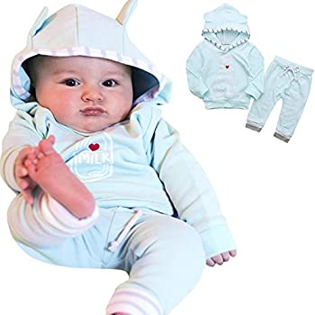 Weant Newborn Baby Boy Girl Clothes Home Outfits Pajamas Set Xmas Costume 2pcs Milk Feeder Hoodie Tops+ Stripe Pants (Light Blue, 18-24 Months) 0