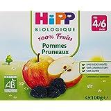 Hipp Biologique 100% Fruits Pommes/Pommes Pruneaux/Pommes Bananes Fruits rouges dès 4/6 mois - 24 coupelles de 100 g