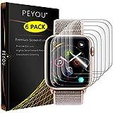 PEYOU Protector de Pantalla para Apple Watch 44 mm series 4 (6 Unidades), PET Protector con [líquida Instalar, sin Burbujas, Anti-arañazos, HD Transparente] para Apple Watch 44 mm series 4, 42mm 1/2/3