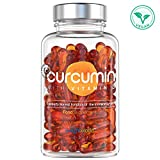 Turmeric Curcumin Capsules + Vitamin D - Turmeric Capsules High Strength 500mg + 185x Absorbance, Vegan Natural Liquid Curcumin Tablets, for Skin, Bones & Joint Health - 60 Capsules - 2 Month Supply