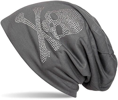 styleBREAKER klassische Beanie Mütze mit Totenkopf Strass Applikation, Unisex 04024034, Farbe:Anthrazit;Materialart:leicht