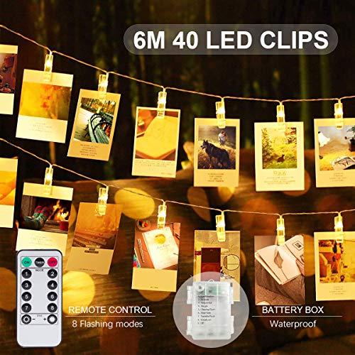 SanGlory LED Fotoclip Lichterkette mit fernbedienung 40 Foto-Clips Fotoleine Zimmer deko lichterketten mit klammern für fotos 6M fotogirlande Licht Warmweiß batterie led fotokette für Polaroid Foto Foto-led Lichter