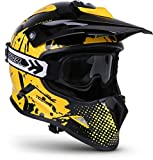"Soxon® SKC-33 Set ""Fusion Yellow"" · Kinder-Cross-Helm · Motorrad-Helm MX Cross-Helm MTB BMX Sport · ECE Schnellverschluss SlimShell Tasche S (53-54cm)"