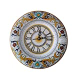 Orologio Tondo in Ceramica di Deruta decoro Raffaellesco linea Lusso