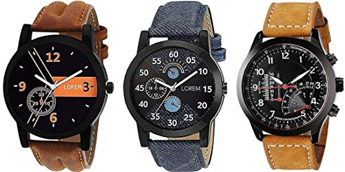 Mishva Analog Multi-color Dial Men's & Boy's Watch Leather Strap Pack of 3