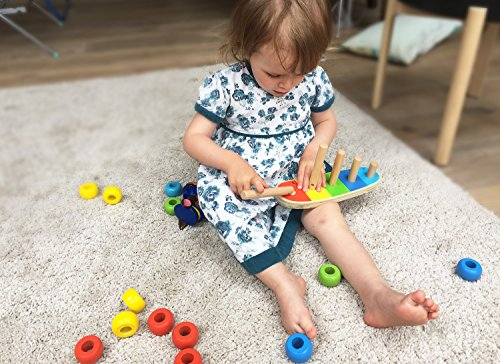 TOWO Wooden Stacking Rings Baby and Counting Game with 5 pegs 15 Rings - Stacking Rings - Counting Rings Early Learning Wooden Toys for 1 year old