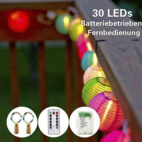 SUPERSUN Lampion Lichterkette, LED Lichterkette Bunt Lampion Batteriebetrieben 30 LEDs, Wasserfest Farbwechsel Globus Lichterketten with Weinflasche Cork Lights für Outdoor, Party, Garten, Rasen, Terrasse, Home Decortaion