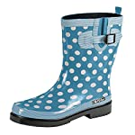 MADSea Ocean Womens Rubber Rain Polka Dot Mid Calf Wellington Boots Light Blue
