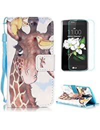 LG K8 Case [with Free Screen Protector],CaseHome Stylish 3D Pattern Folio Book Style Magnetic Closure Stand Feature Wallet Design with Card Holder Slots and Wrist Strap Built-in Soft Rubber Bumper Full Body Protective PU Leather Flip Case Cover Skin Shell for LG K8-Giraffe and Birds