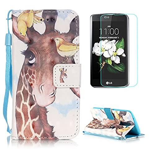 LG K8 Case [with Free Screen Protector],CaseHome Stylish 3D Pattern Folio Book Style Magnetic Closure Stand Feature Wallet Design with Card Holder Slots and Wrist Strap Built-in Soft Rubber Bumper Full Body Protective PU Leather Flip Case Cover Skin Shell for LG K8-Giraffe and