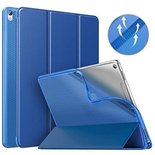 MoKo Schutzhülle Kompatibel mit New iPad Air 3 2019(3rd Generation 10.5 inch)/iPad Pro 10.5 2017, Auto Wake/Sleep Smart Trifold Ständer Transluzente TPU Rückseite Tablet Hülle - Marineblau (3rd Generation Ipad Klar)