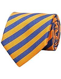 Versace Made In Italy Navy Yellow Stripe 100% Silk Men's Tie