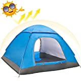Eyeco Randonnée Tente de camping pour 2-4 personnes, Automatique Pop Up Tentes de randonnée en plein air Double couches avec sac de transport