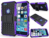 "Shockproof Builder Defender Tough Hard Heavy Duty Armour Back Case Cover Pouch With Stand [ For Apple iPhone 6 / 6s in Purple ] [ 4.7"" ] + Free Screen Protector"