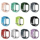 Hergon Neue Uhrenarmbänder, Silikon Ersatz Handgelenk Band Strap für TomTom Runner 2 3 Spark 3 GPS Faltschließe Armband Uhr Zubehör Armbänder (Teal Grün)