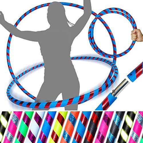 PRO Hula Hoops (Ultra-Grip / Glitter Deco) Gewichtetes TRAVEL Hula Hoop (100cm / 39 ') Hula Hoops Für Übung, Tanz & Fitness! (640g) KEINE Anleitung gebraucht - gleicher Tag Versand! (Blau / Rot glitter) - Glitter Hula-hoop
