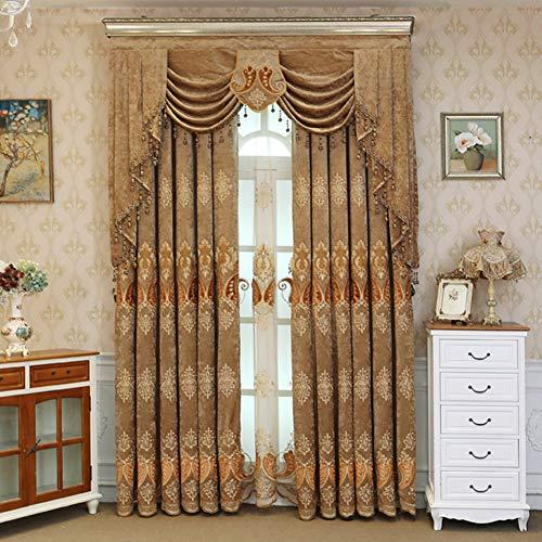 KELE Caterpillar Stickerei Hohe schattierung Vorhänge, Fenster Vorhang Luxus Vorhänge Schlafzimmer Wohnzimmer Vom Boden bis zur Decke reichenden Fenster Tülle verdunkelung Vorhang-B W:150XH:270cm