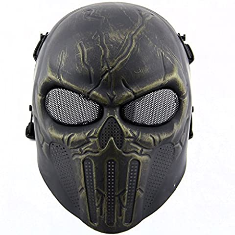 Tactical Airsoft Full Face Skull Skeleton Mask Paintball Game Cs War Game Protection Safety Guard for Outdoor Hunting Activity Costume Bar Theme Party Halloween Carnival Cosplay