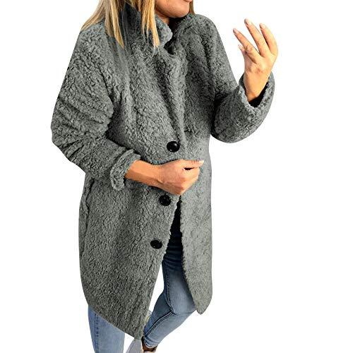 Yvelands Damen Mantel Winter Pullover Warm Fleecepullover Solid Langarm Kapuzenpullover Reißverschluss Kordelzug Hoodie mit Kapuze Pullover Schwarz Khaki ()