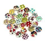 Ularmo 100 Stück 2 Löcher gemischte mehrfarbige Muster Kinder drucken
