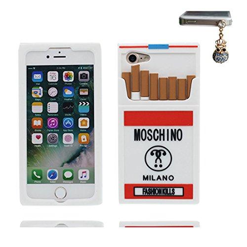 iPhone 7 Plus Custodia, morbida guarnizione TPU in gomma antigraffio protettiva Case copertura per iPhone 7 Plus 5.5 Cover + tappi antipolvere / Cartoon Progettato 3D rossetto Sexy bianca 1
