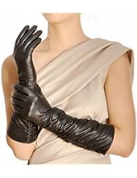 Warmen - Gants Longs en Cuir Véritable pour Femme - Design Classique - Chauds pour l'Hiver