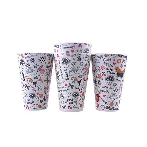 4 pcs Bio écologique en fibre de bambou Dessin animé Licorne Eau Lait jus Tasses Mug Gobelet D Set-letters--400ml