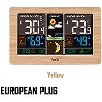 thorityau Estación meteorológica inalámbrica con Sensor inalámbrico Interior/Exterior, Pantalla LCD a Color Estación