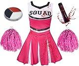 ILOVEFANCYDRESS Zombie Cheerleader KOSTÜM VERKLEIDUNG= 5 Farben+6 GRÖßEN=MIT+OHNE BLUTIGE Strumpfhose=HAT DIE Aufschrift -Squad + Make UP+Pompoms+KUNSTBLUT=OHNE Strumpfhose/ROSA Kleid-MEDIUM