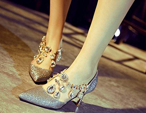 Misssasa Womens Stiletto Heel Chaussures Élégant Demi Pied Belle Argent Bleu