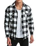 MODCHOK Uomo Camicie a Quadri Casual in Flanella Maniche Lunghe Shirt Slim Fit Nero/Bianco L