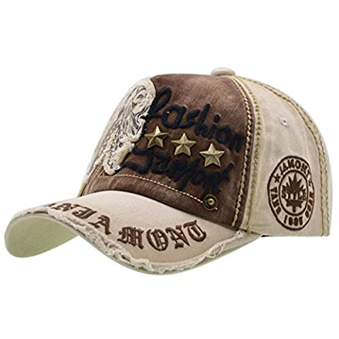 Cotton Baseball Cap Unisex - iParaAiluRy Adjustable Baseball Hat for Outdoor, Sports, Traveling - Letter Patch Rivets Casual Caps Comfortable and Typical (beige)