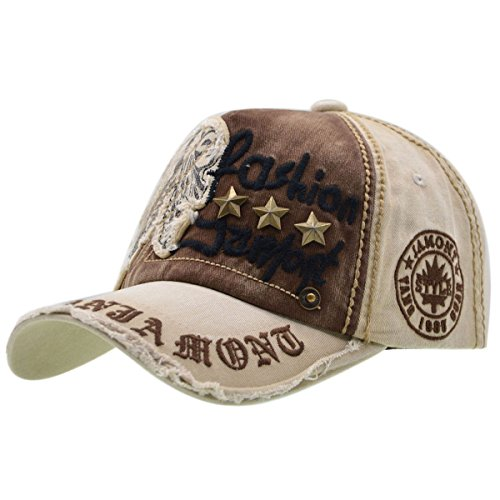 Baumwolle Baseball Cap, Basecap - iParaAiluRy Unisex Baseball Kappen, Baseball Mützen für Draussen, Sport oder auf Reisen - Letter Patch Nieten Lässig Kappe, Mütze (Weibliche Piraten Hut)