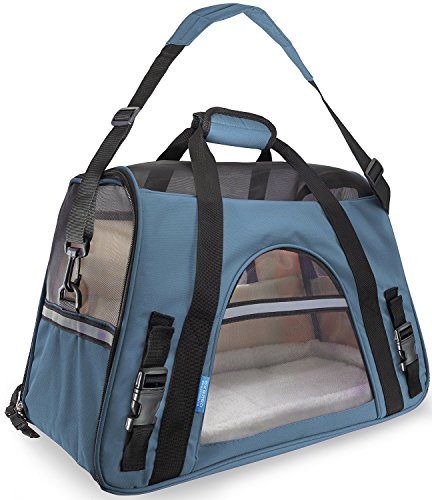 Ltuotu Portador del Perro Capazos Bolsa de Transporte para Mascotas Perros Gatos Animal Transportín Plegable, Aprobado por La Aerolínea de Viajes Portador del Bolso Lateral Suave (L(48*25*33cm), azul)