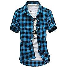Innersetting Men Plaid Shirts Casual Dress Teenage Short Sleeve Slim Fit Check Shirt Top