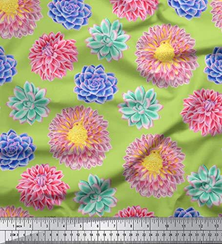 Soimoi Vert Mousse Georgette en Tissu Dahlia et camélias Floral Tissu Imprime Metre 42 Pouce Large